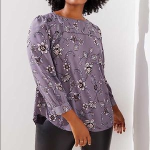 LOFT Plus Lilac Garden Pleat Yoke Blouse 20 NWT